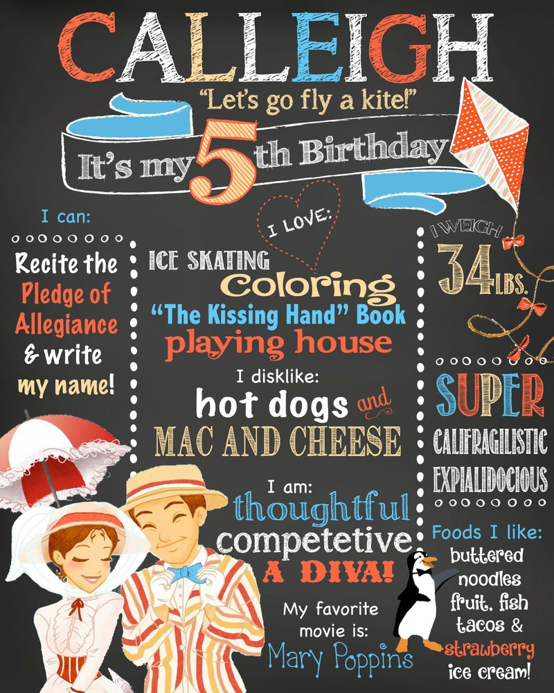 Image of Mary Poppins themed Birthday Chalkboard- go fly a kite, Mary, Bert, penguins