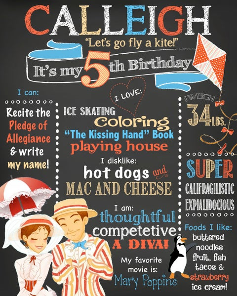 Image of Mary Poppins themed Birthday Chalkboard- go fly a kite, Mary, Bert, penguins
