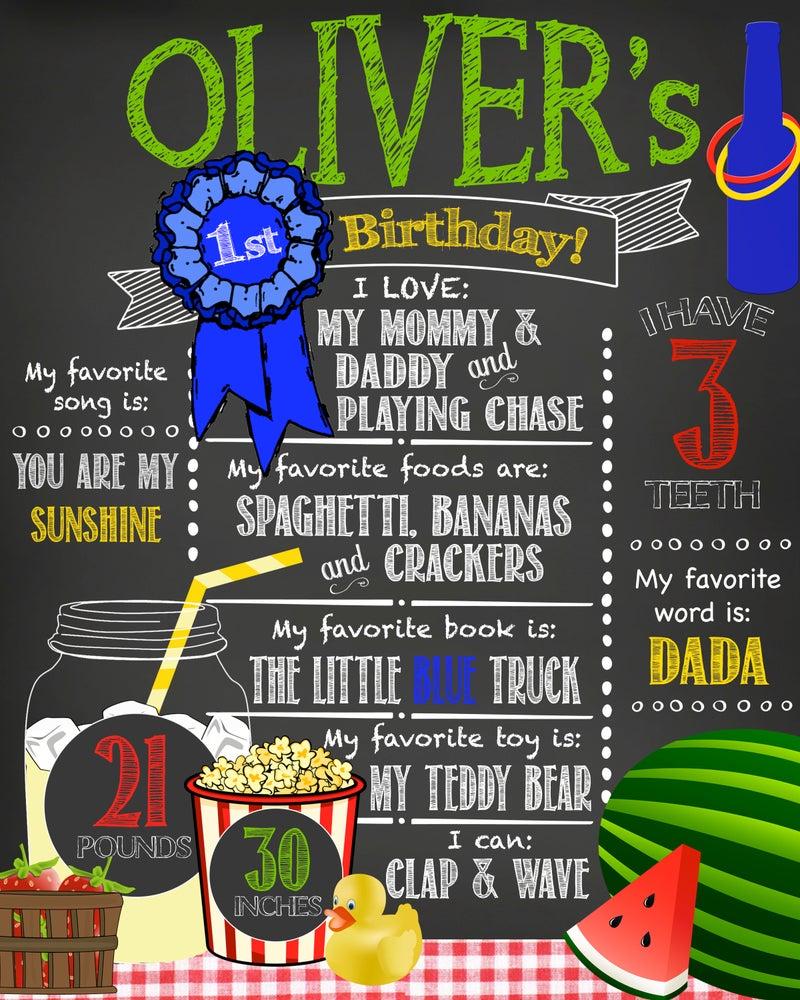 Image of Country Fair Picnic themed Birthday Chalkboard- blue ribbon, watermelon, lemonade, pie, carnival