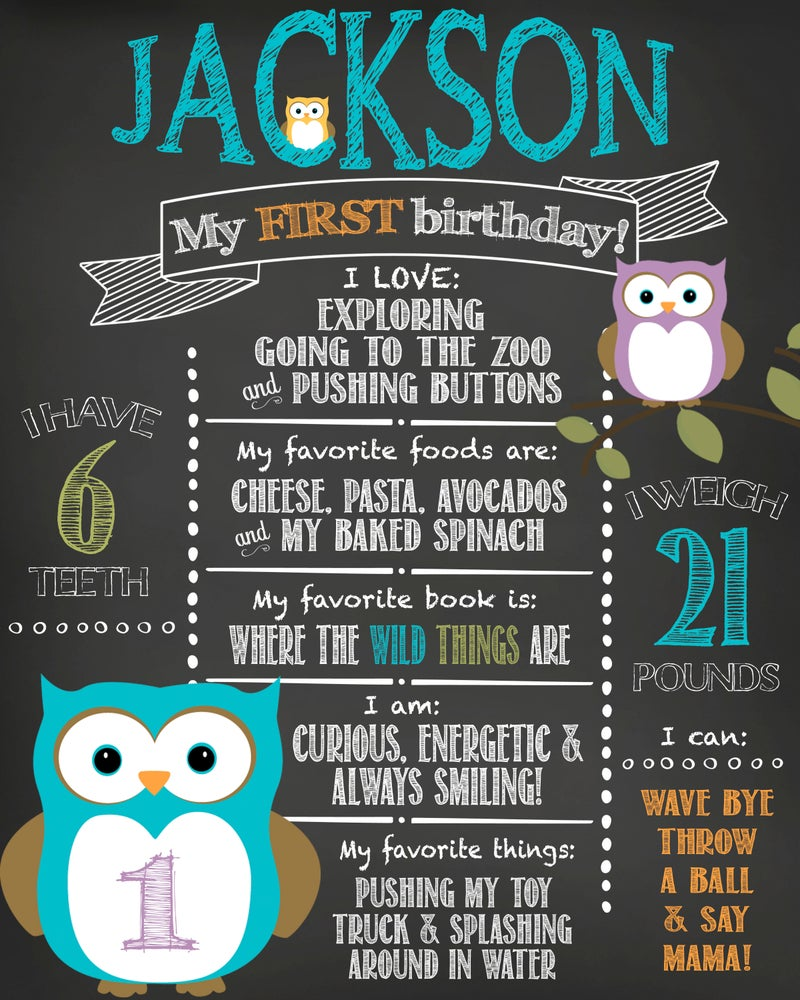 Image of Little Owl themed Birthday Chalkboard- owl, green, blue, purple, keepsake