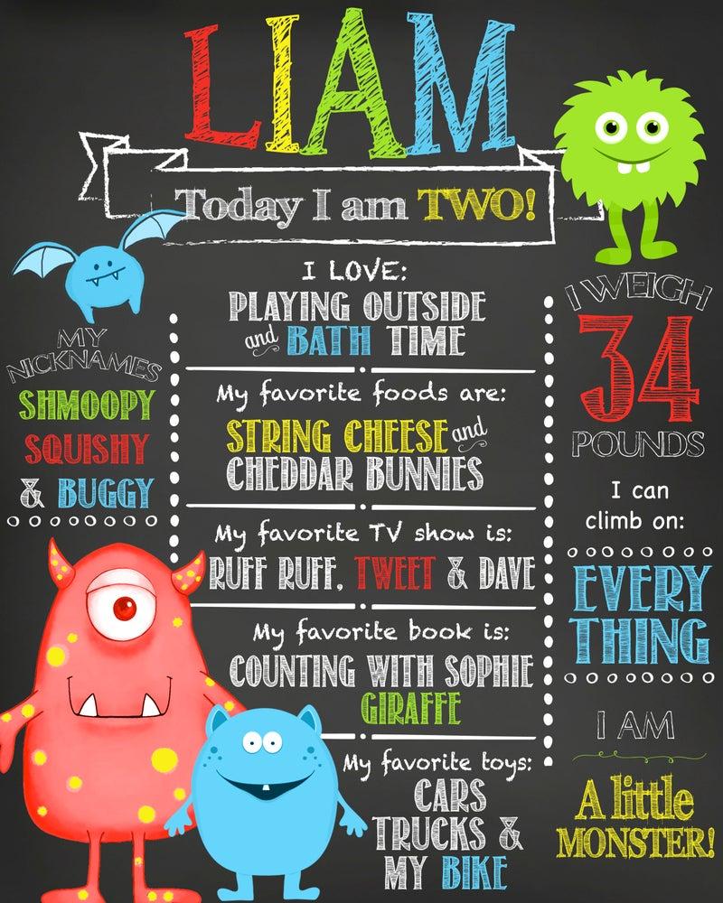 Image of Little Monster Birthday Chalkboard- monsters, bats, red, blue, yellow, purple, green, keepsake