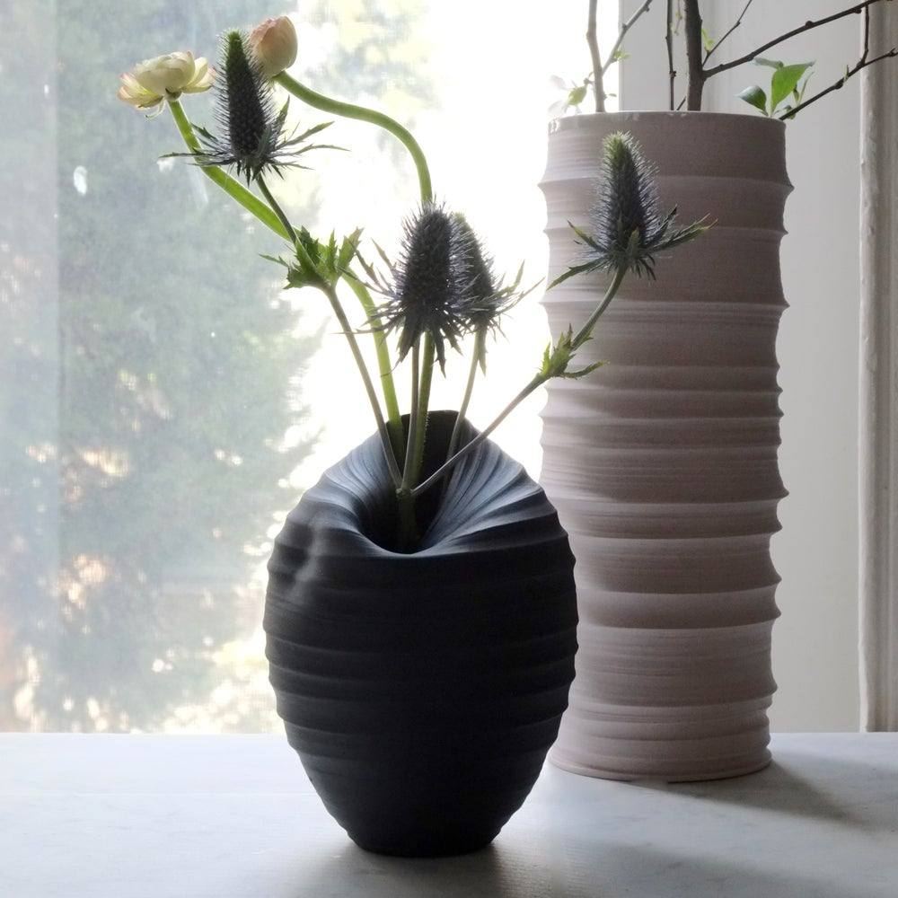Image of Cocoon Vase, Black Velvet, #726