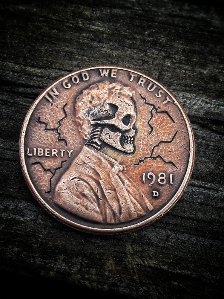 Image of Skull Wheat Penny - MADE TO ORDER