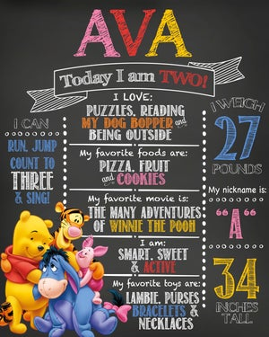 Image of Winnie the Pooh & Friends Birthday Chalkboard- Pooh, Tigger, Piglet, Eeyore, blue, yellow, red
