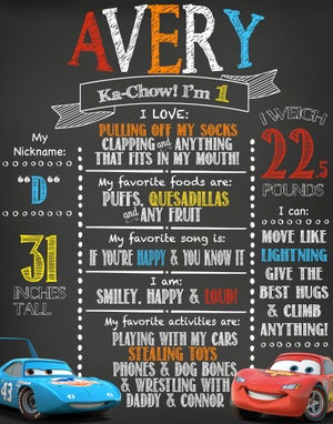 Image of Cars Birthday Chalkboard- Lightning McQueen, Mater, The King, cars, blue, red, yellow