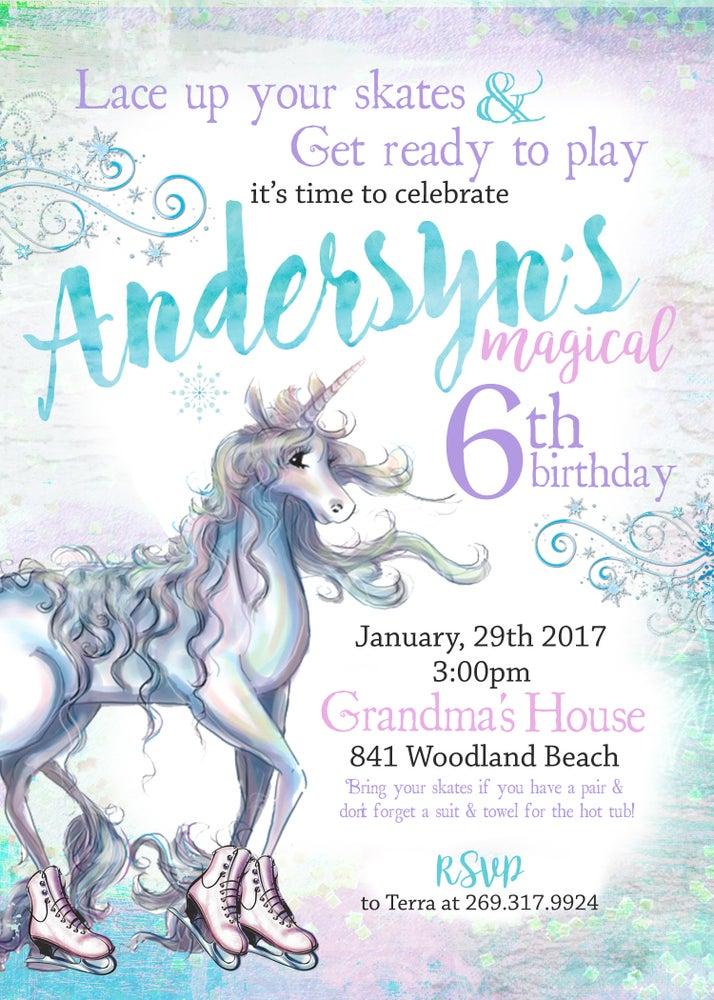 Image of Ice Skating Unicorn Birthday invitation-  ice skating, unicorn, pastels, watercolor, sparkle, magic
