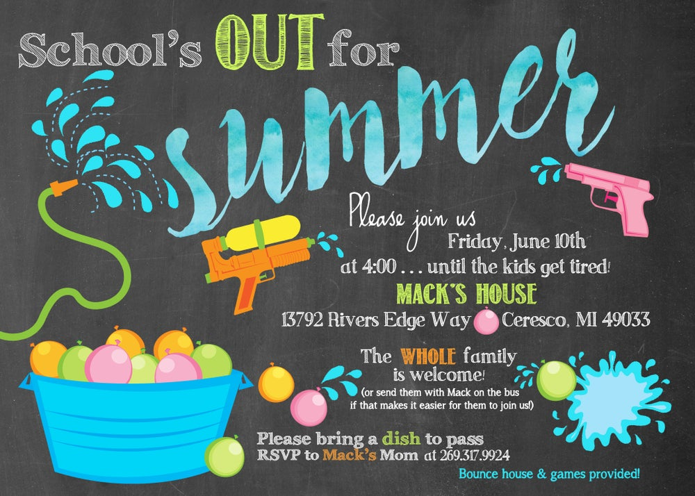 Image of School's Out For Summer Invitation- chalkboard, water balloons, splash, water guns, blue, orange