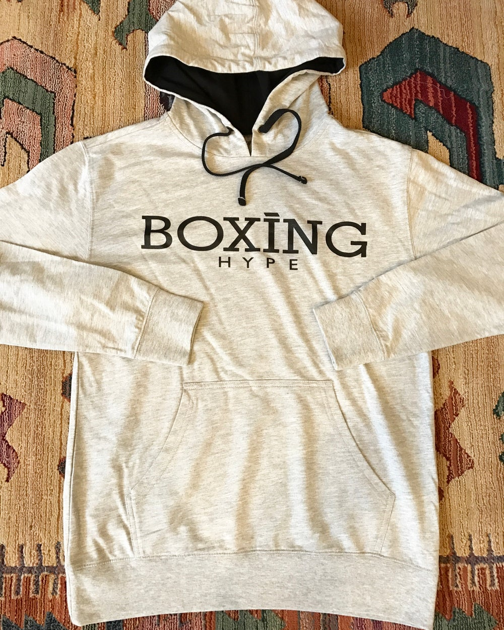 Image of Heather gray / black unisex lightweight BoxingHype hoodies