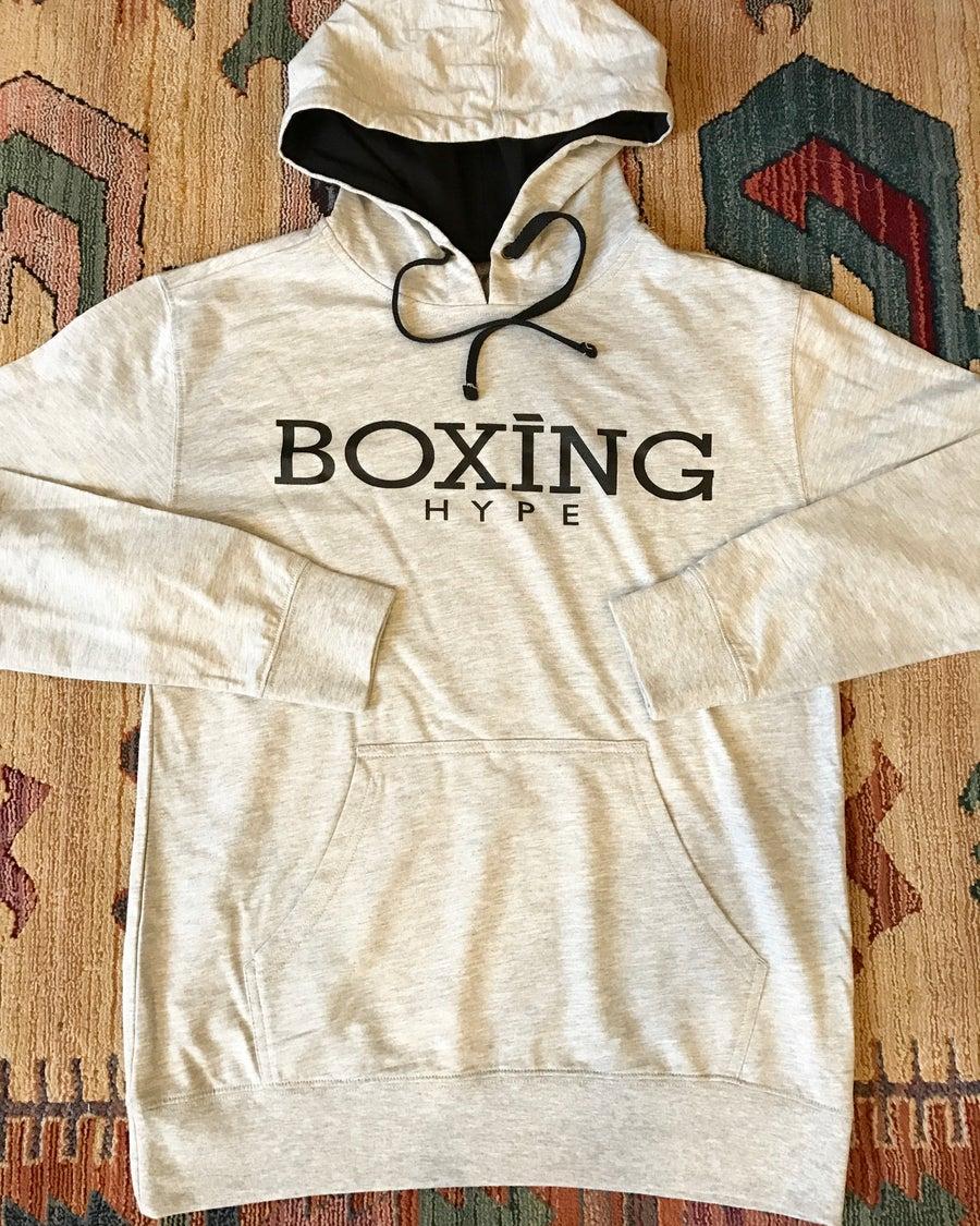 Image of Heather gray / black unisex lightweight BoxingHype hoodies