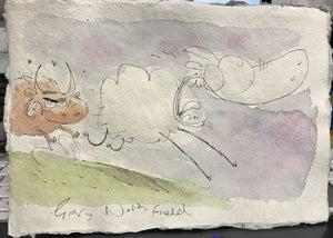 Image of Original Derek The Sheep watercolour A5