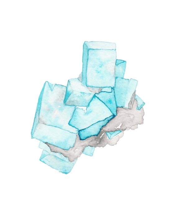 Image of Vintau Blue Fluorite Watercolor Print