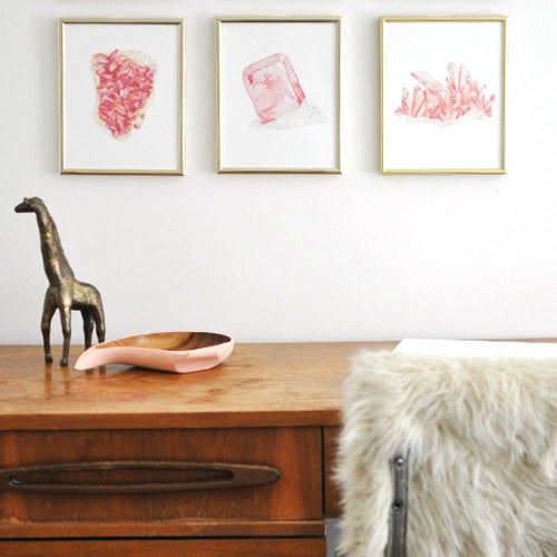 Image of Vintau Pink Rhodochrosite Watercolor Print