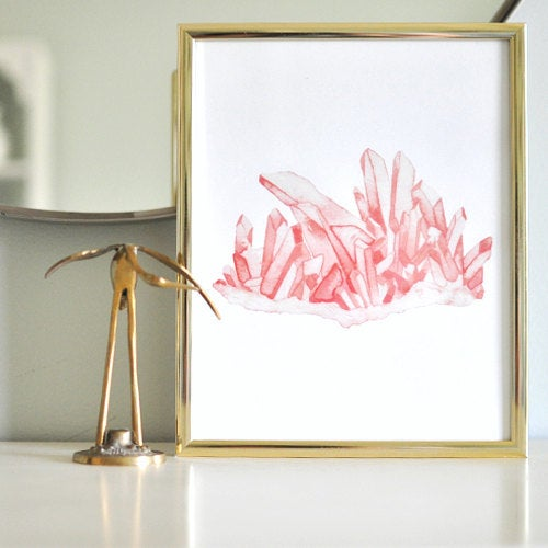 Image of Vintau Pink Himalayan Quartz Watercolor Print