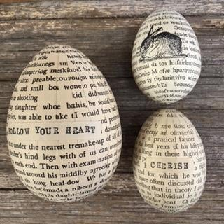Image of Eggs covered in vintage book paper