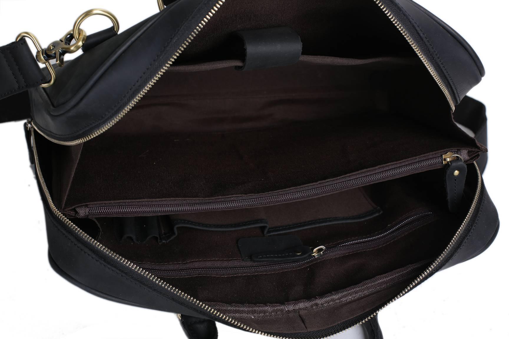Leather Bag For Laptop - Handmade black genuine leather briefcase messenger bag laptop bag men s handbag d007