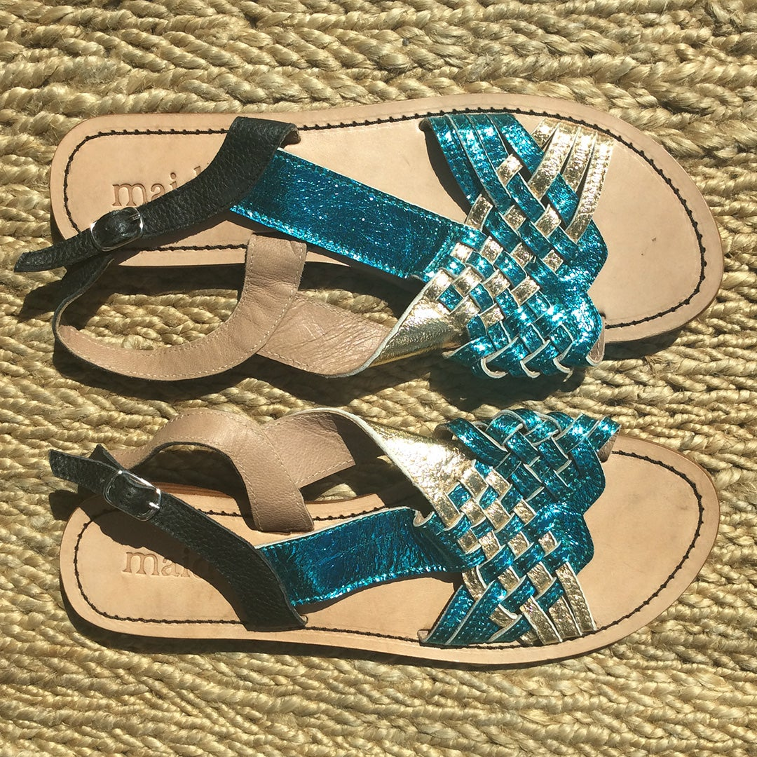 Image of ARROW WOVEN SANDAL - BLUE GOLD