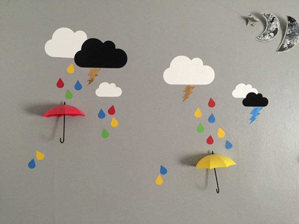 Image of Weather wall decals - snowflakes, clouds, raindrops and lightening bolts