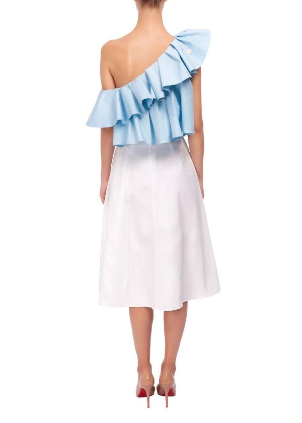 Heather Skirt (White & Blue) - Melissa Bui