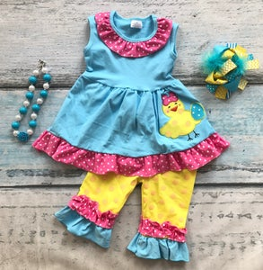 "Image of Easter ""Cutest Little Chick"" Capri outfit, baby, toddler, girl, aqua, hot pink, yellow"