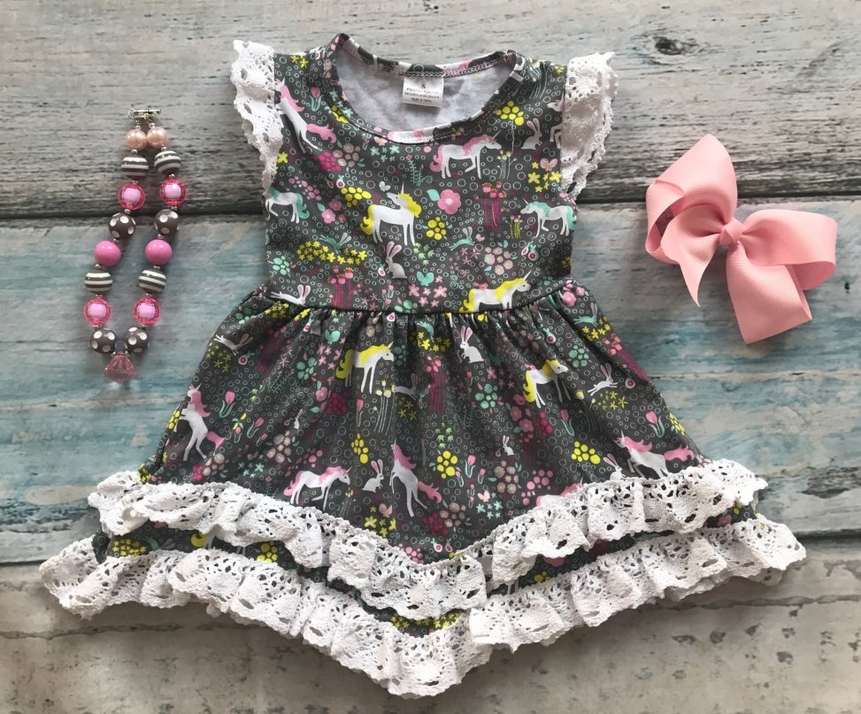Image of Unicorn Lace Dress, Baby, Toddler, Girl, photos, easter