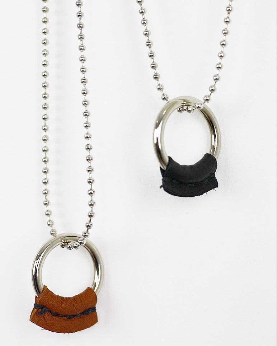 """Image of LUCID777 - DIRT POOR LEATHER """"O"""" RING-BALL/CHAIN NECKLACE"""