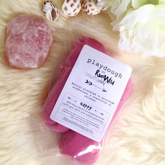 Image of HAPPY: Handmade playdough with rose geranium essential oil