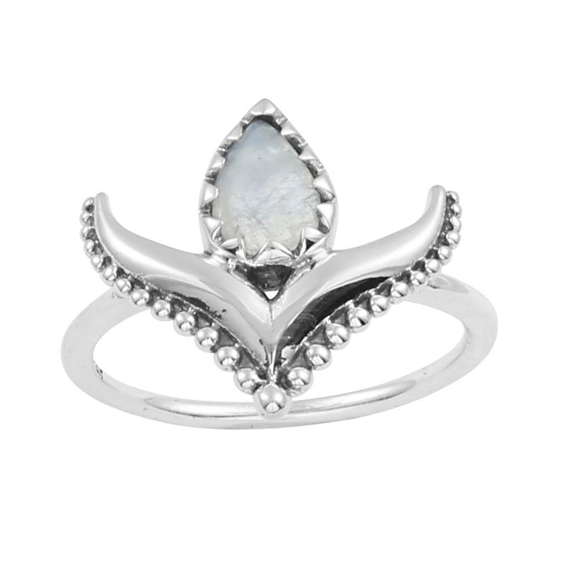 Image of Sterling Silver & Rainbow Moonstone Nomadic Ring