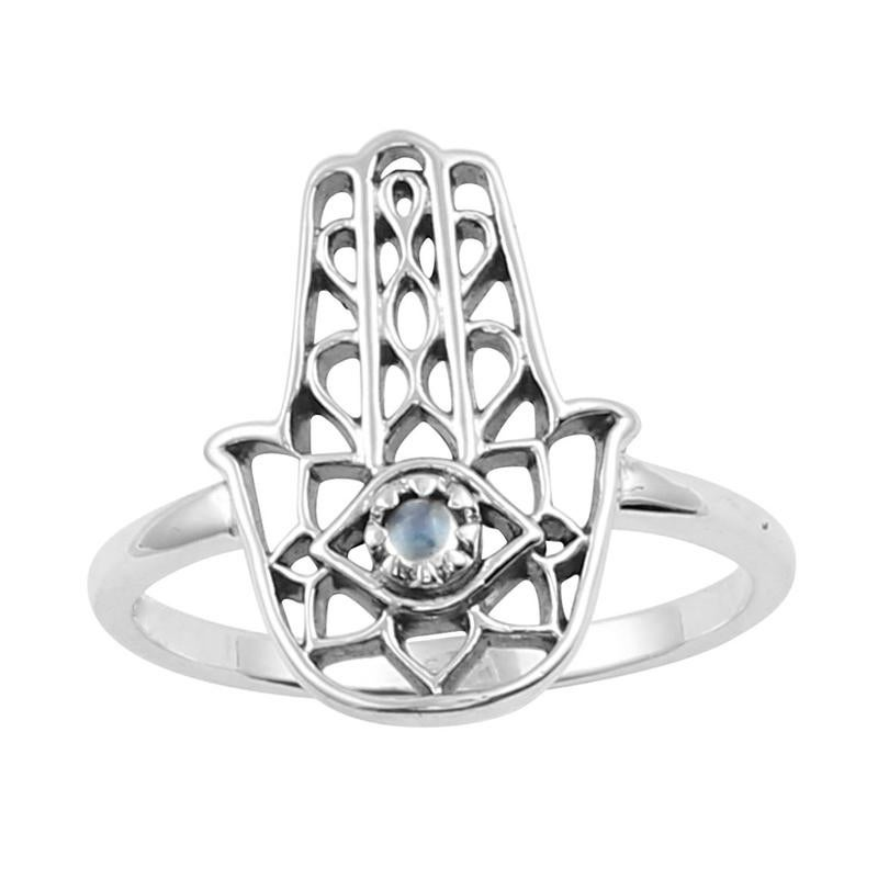 Image of Sterling Silver & Rainbow Moonstone Hamsa Ring