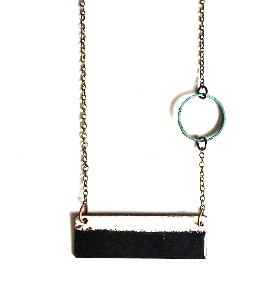 Image of Black and White Enamel Reversible Necklace
