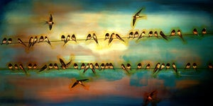 "Image of Lily Greenwood Signed Giclée Print - Swallows - 12"" x 24"" - Limited Edition"