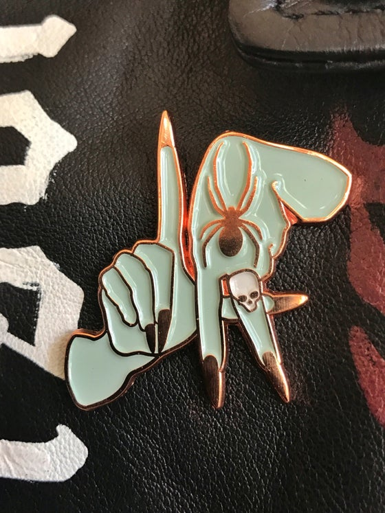 Image of Rose Gold Los Angeles hands enamel pin