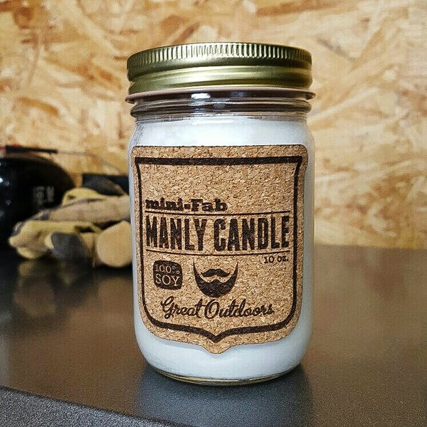 Image of Manly Candle - Great Outdoors Scented Natural Soy Man Candle Hand Poured with Cotton Wick