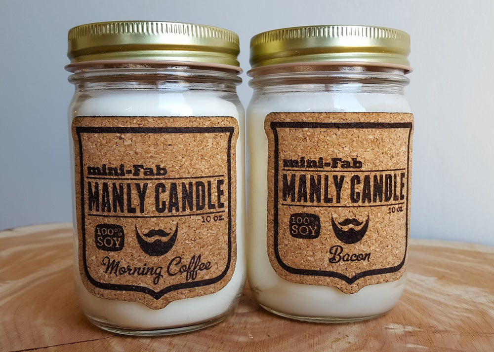 Image of Soy Candle - Scented Manly Natural Candle Hand Poured with Cotton Wick - Bacon