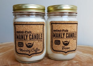 Image of Manly Candle - Bacon Scented Natural Soy Man Candle Hand Poured with Cotton Wick
