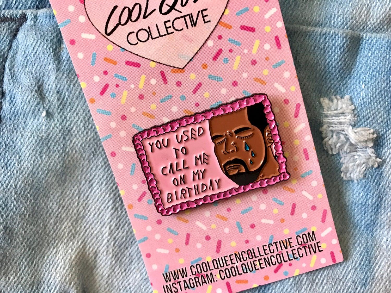 Image of Drake on Cake Enamel Pin