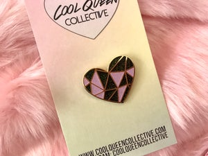 Image of Geo Heart Glitter Enamel Pin