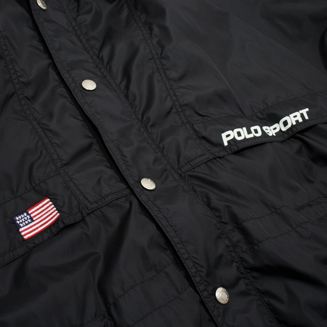 Image of Polo Sport Ralph Lauren Windbreaker Hooded Size L Black