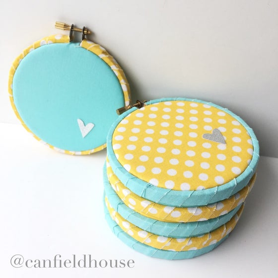 Image of Yellow or Aqua with Silver Heart Mini Hoop