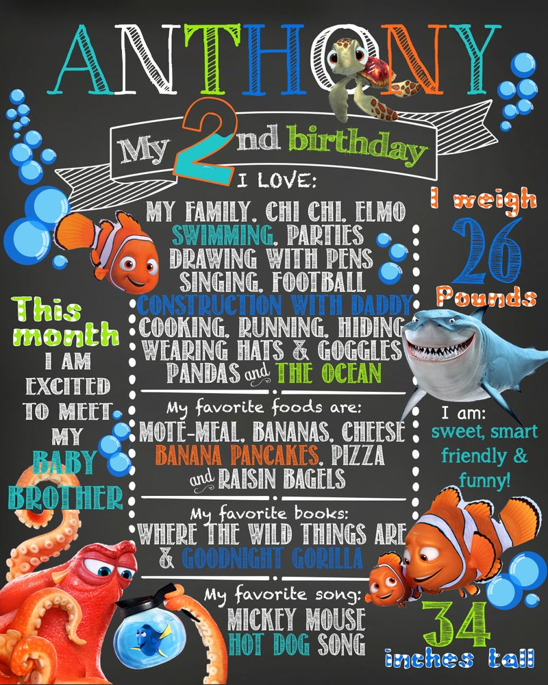 Image of Finding Nemo Birthday Chalkboard- Nemo, Marlin, Hank, Dory, Bruce, blue, turquoise, orange, keepsake