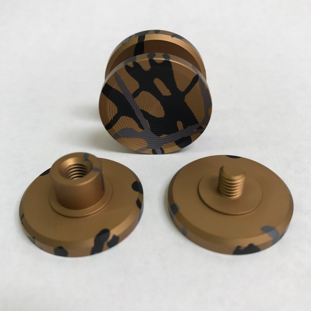 "Image of Aluminum ""Bronze Camo"" Double ""F"" Fidget Toy Spinner w/ Full Ceramic Bearing"