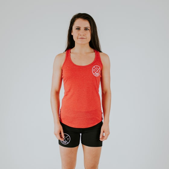 Image of Womens Red Racer-Back