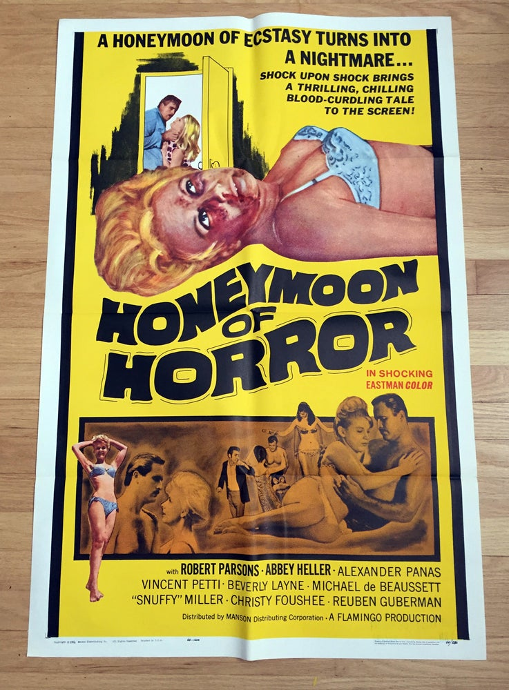 Image of 1964 HONEYMOON OF HORROR Original U.S. One Sheet Movie Poster