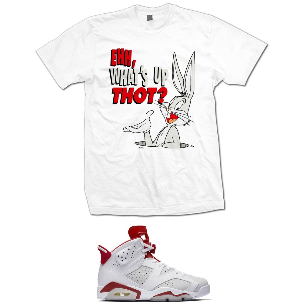 Image of EHH WHAT'S UP THOT RETRO 6 ALTERNATE T SHIRT - WHITE