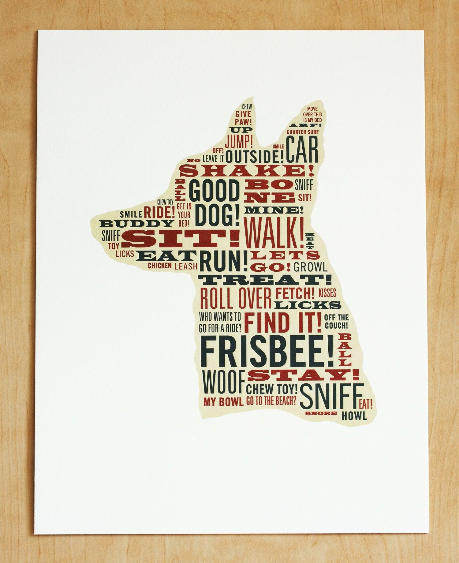 Image of TYPOGRAPHIC DOG Print