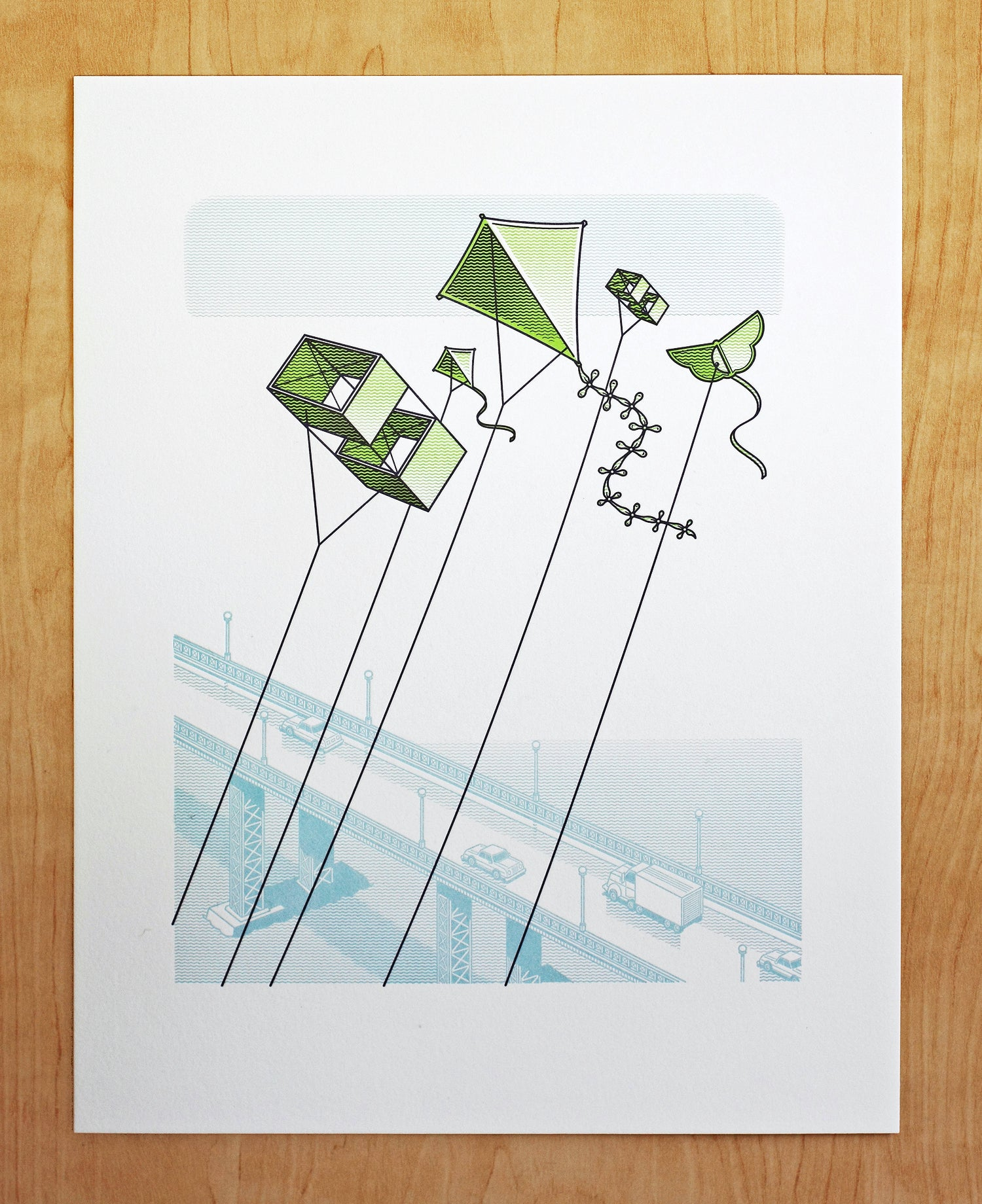 Image of KITES FLYING OVER BRIDGE Print