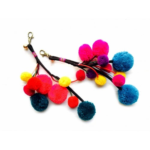 Image of Tribal Pompom ball bell key ring