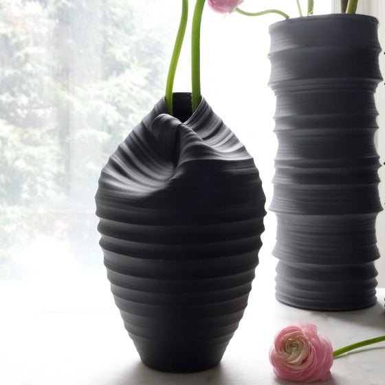 Image of Cocoon Vase, Black Velvet, #912