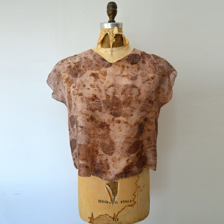 Image of eco print silk tissue tee in rose