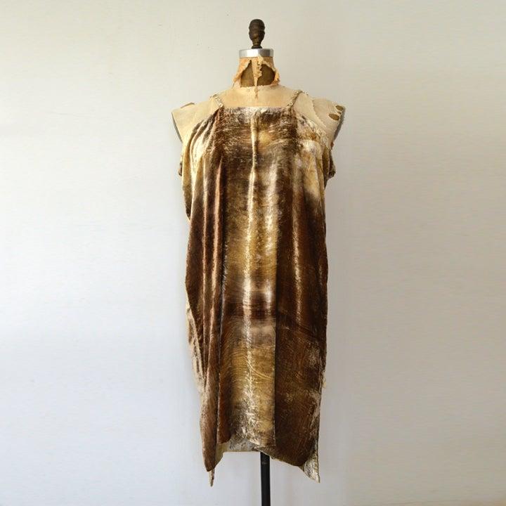 Image of black walnut and golden rod silk velvet dress