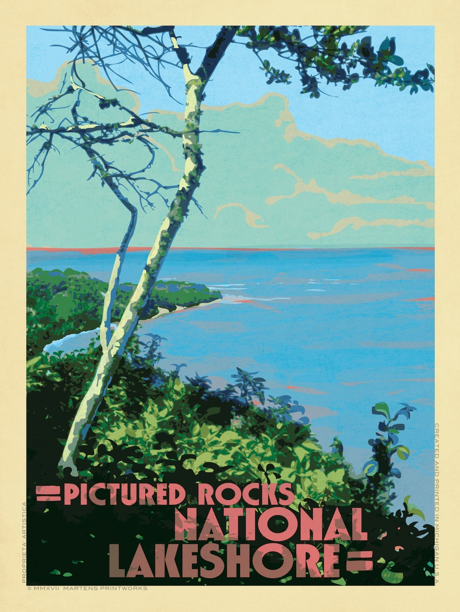 Image of View from a Bluff in Pictured Rocks National Lake Shore 18x24 Print No. [074]